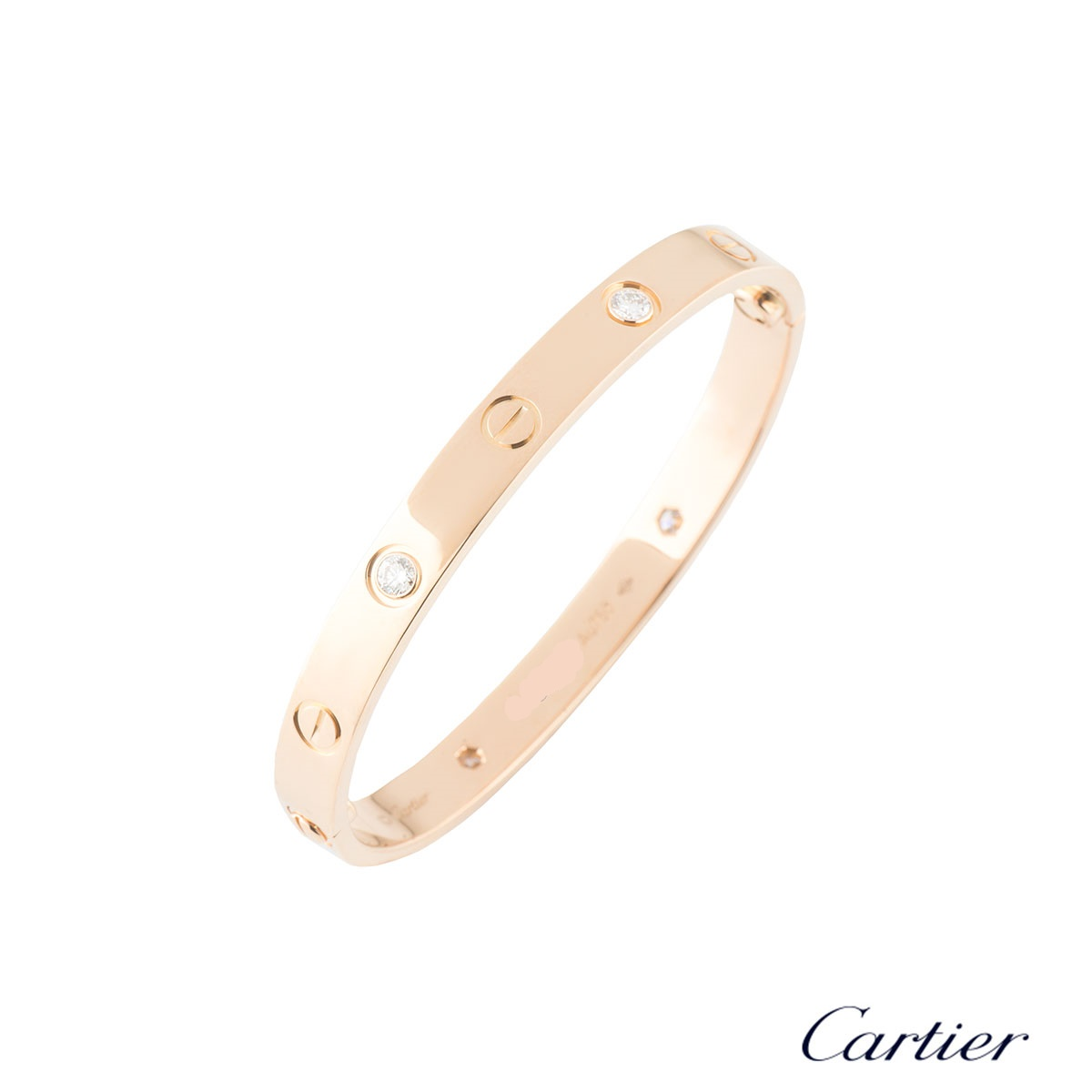 Cartier Rose Gold Half Diamond Love Bracelet Size 19B6036019